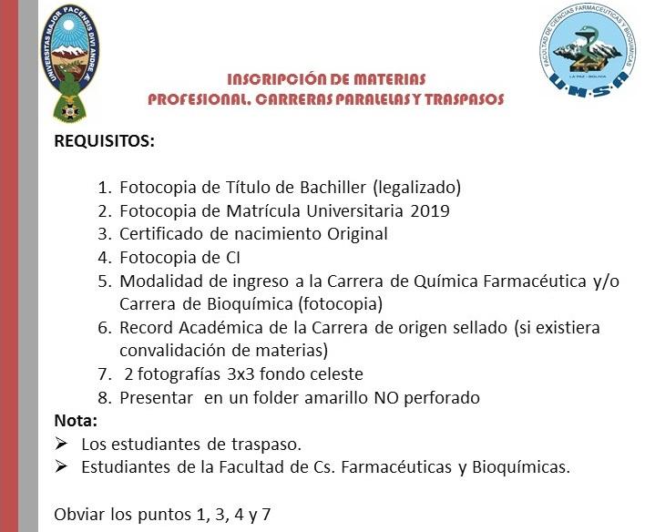 Facultad De Ciencias Farmaceuticas Y Bioquimicas Inicio